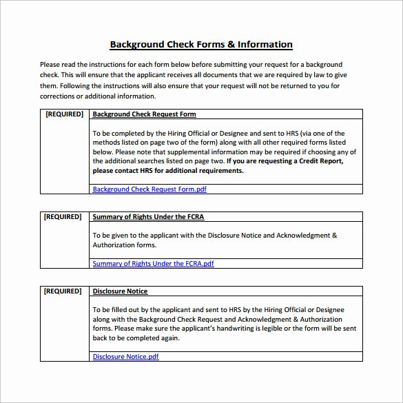 8 Sample Background Check forms to Download