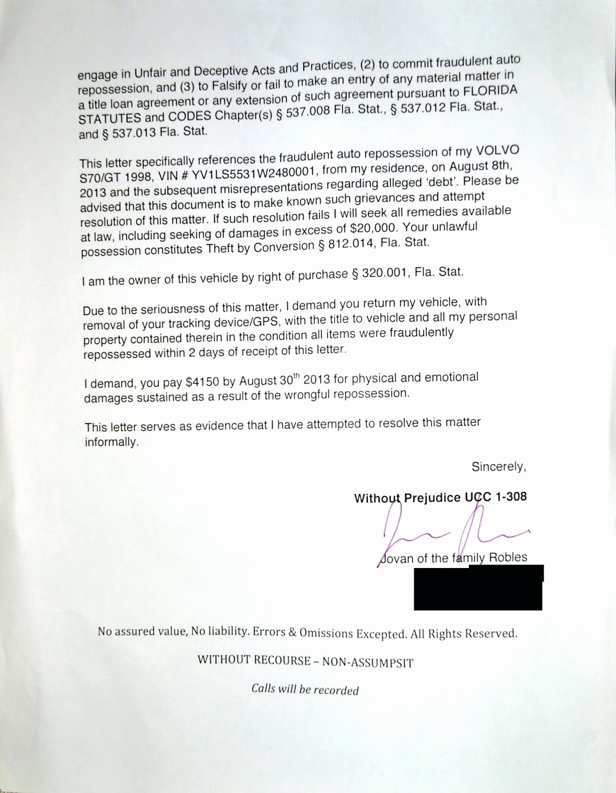 83 Notice Repossession Letter Notice Repossession