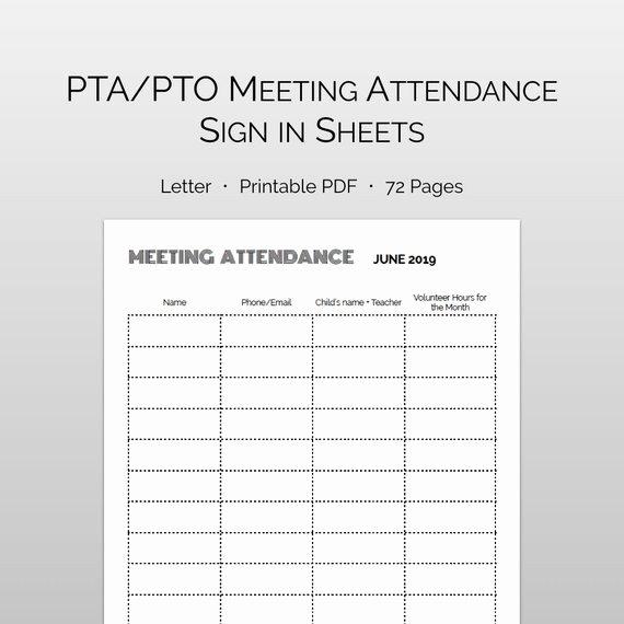 86 Pta Meeting Sign In Sheet Parent Teacher