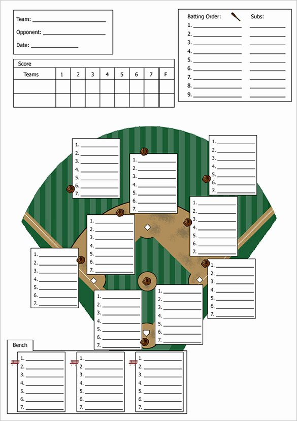 baseball line up card template
