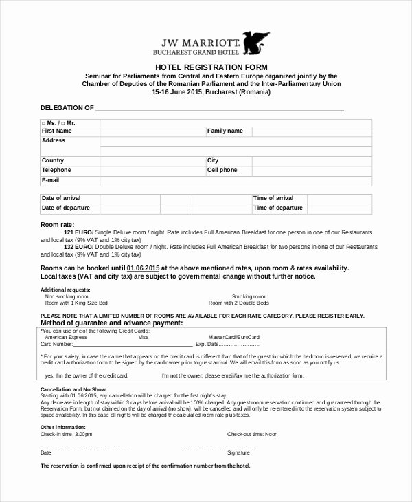 9 Sample Hotel Registration forms – Latter Example Template