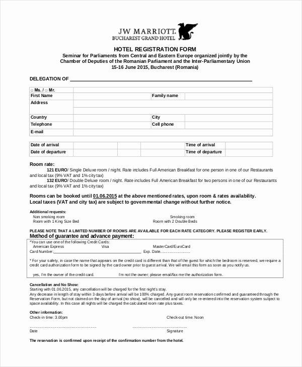 9 Sample Hotel Registration forms