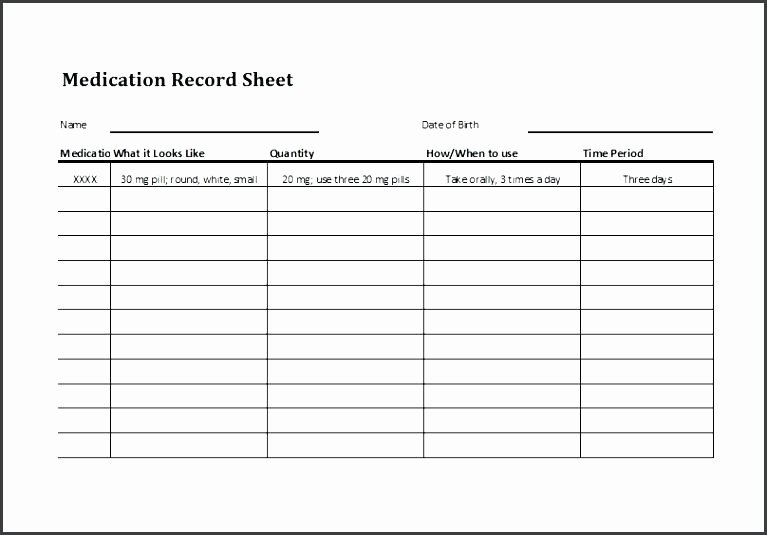 93 Personal Medication List Template List Template Free