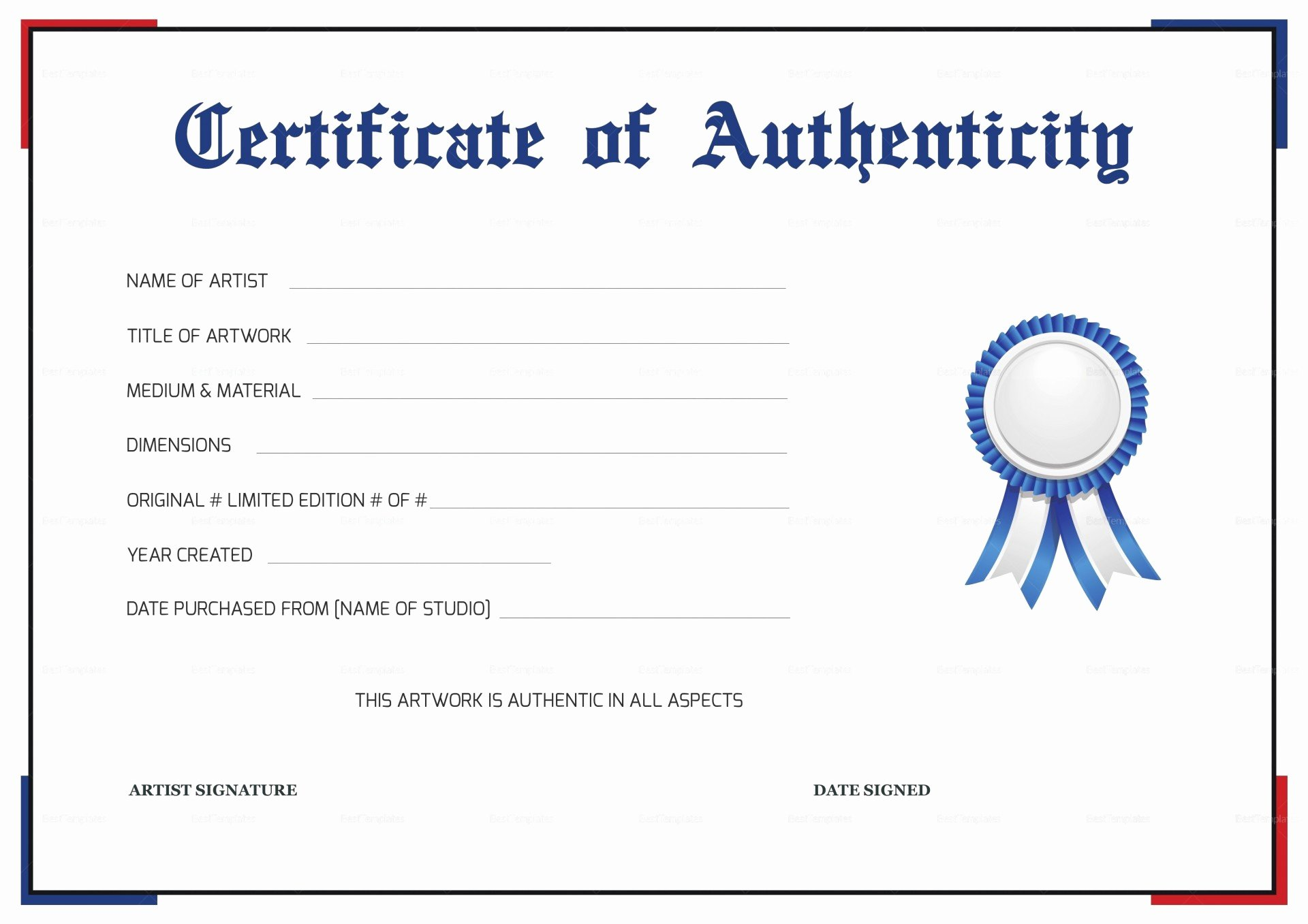 96 Artist Certificate Authenticity Template Free