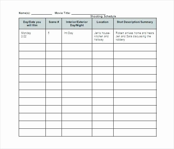 99 Video Production Schedule Template Excel Video