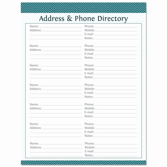 Address & Phone Directory Fillable Printable Pdf by
