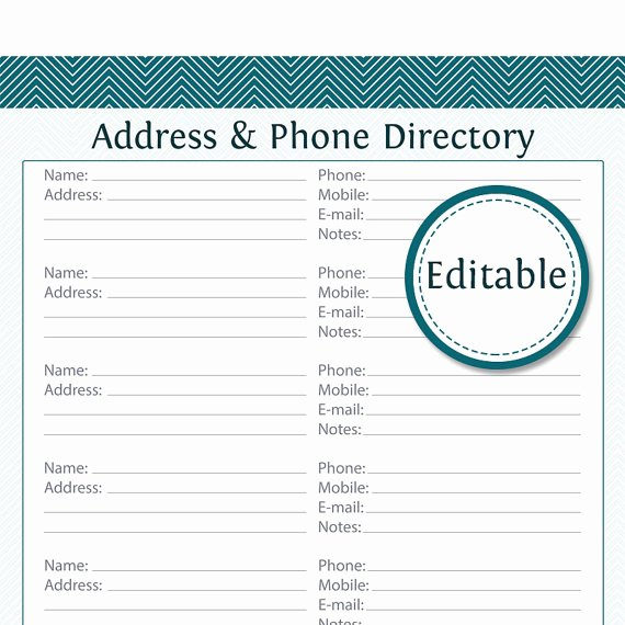 Address & Phone Directory Fillable Printable Pdf