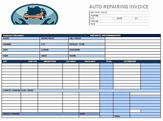 Auto Repair Invoice Template Sarahepps