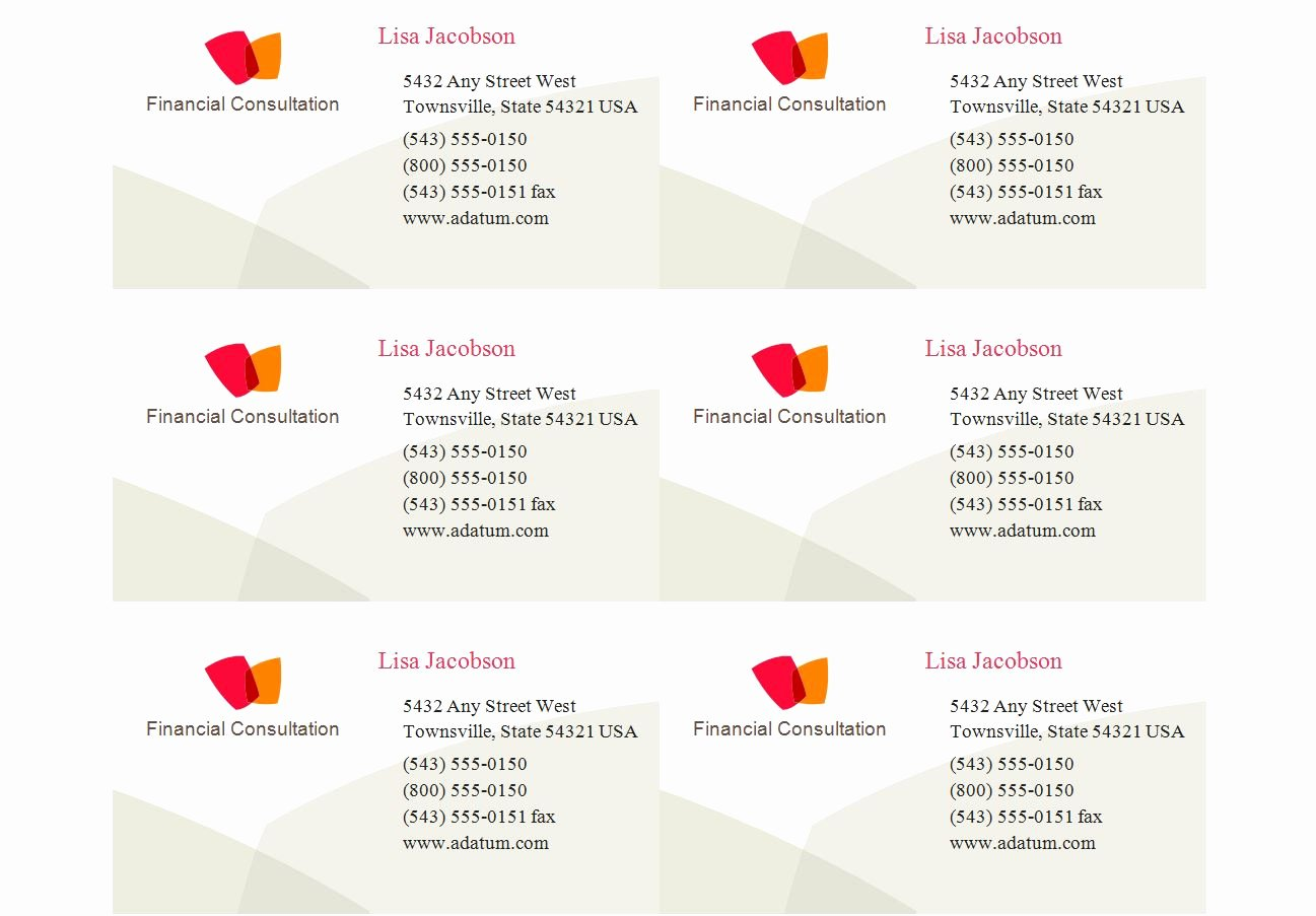 Avery 8371 Business Card Template