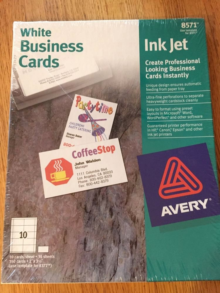 Avery Business Cards Inkjet Printers 8571 White Template