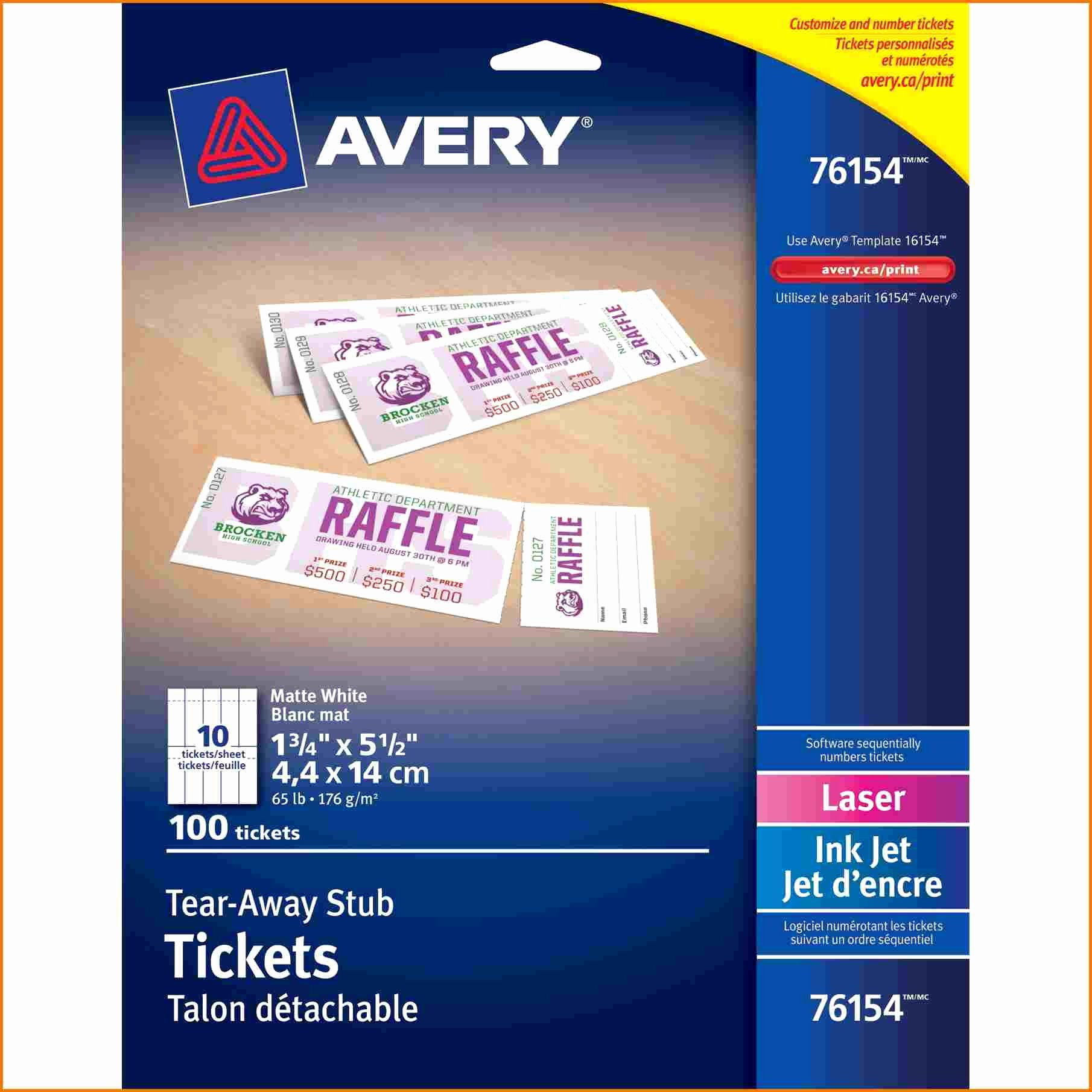 avery ticket template