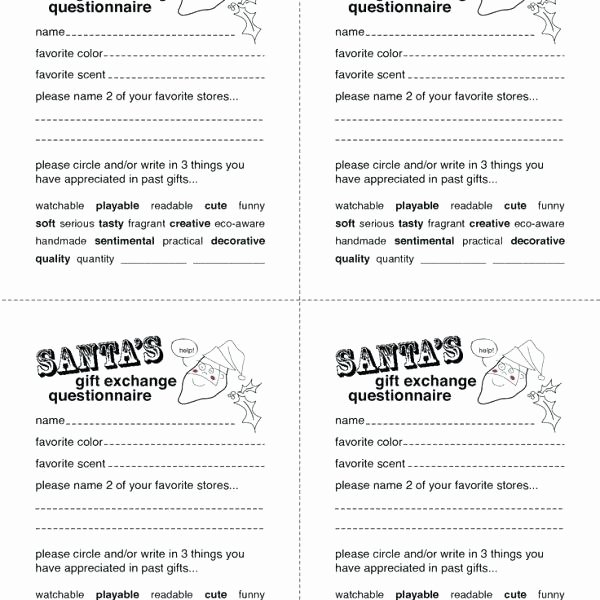 Awesome List Template Resume Ideas Secret Santa