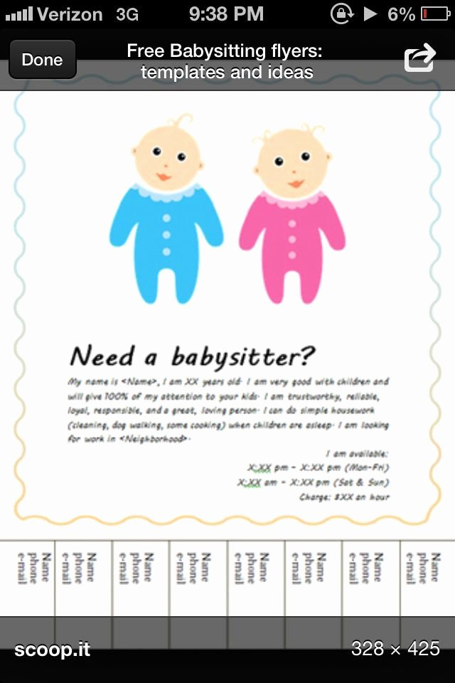 Babysitting Flyer Free Template Templates Resume