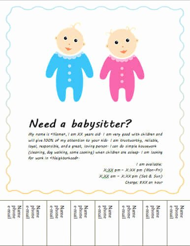 Babysitting Poster Template Cake Ideas and Designs