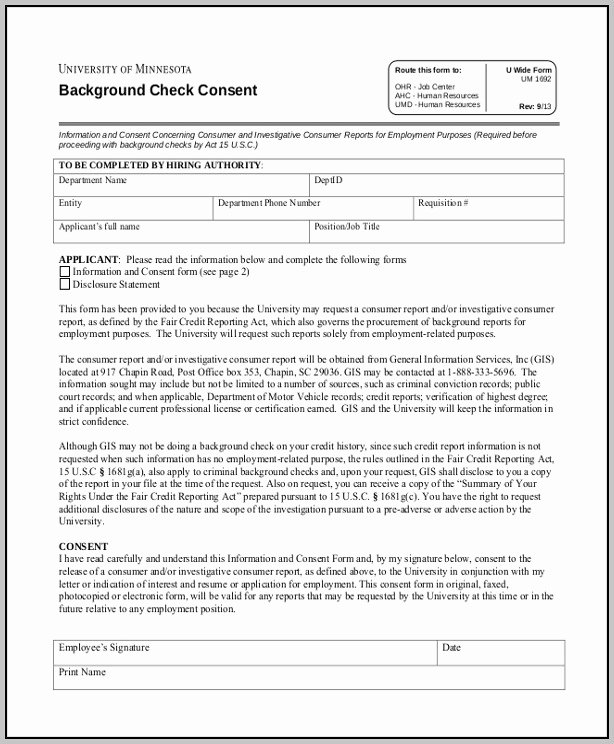 Background Check Authorization form Florida Template