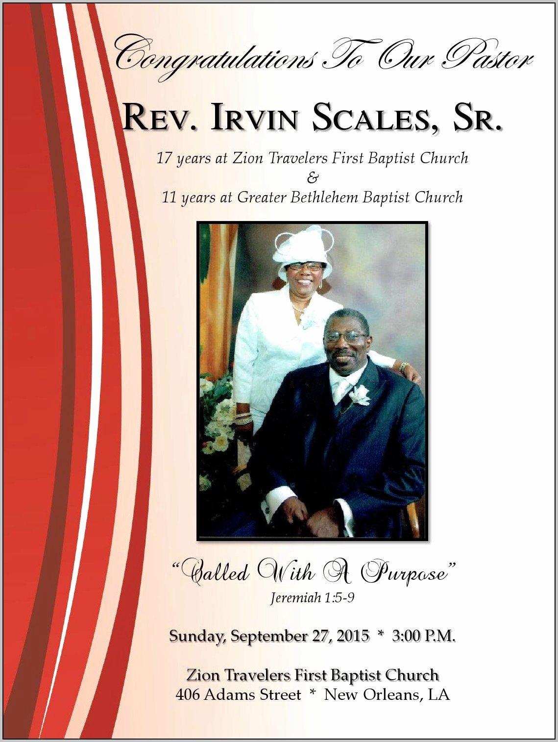 Baptist Pastor Anniversary Program Template Resume