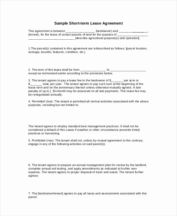 Basic Lease Agreement Example 12 Free Word Pdf