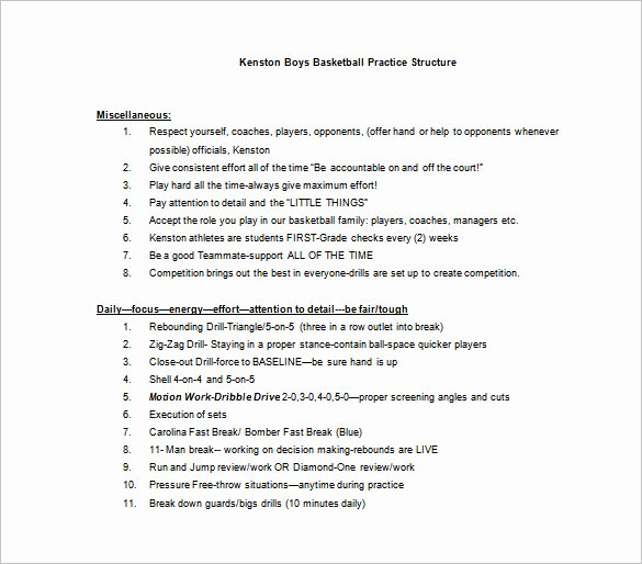Basketball Practice Plan Template 3 Free Word Pdf