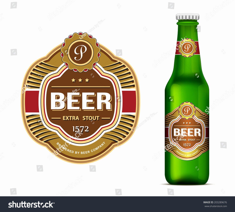 Beer Label Template Green Beer Bottle Stock Vector