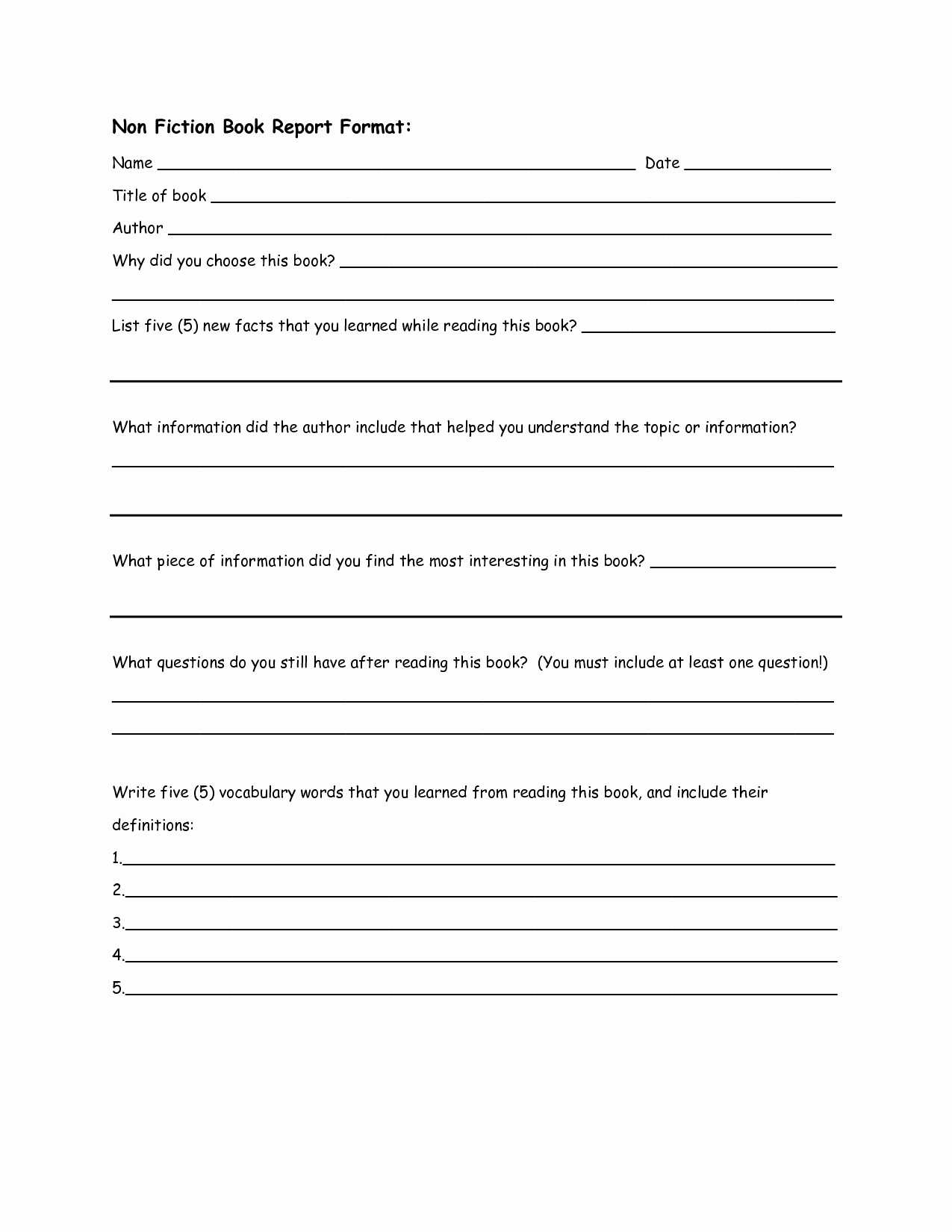 Best S Of Book Report Outline Template Biography