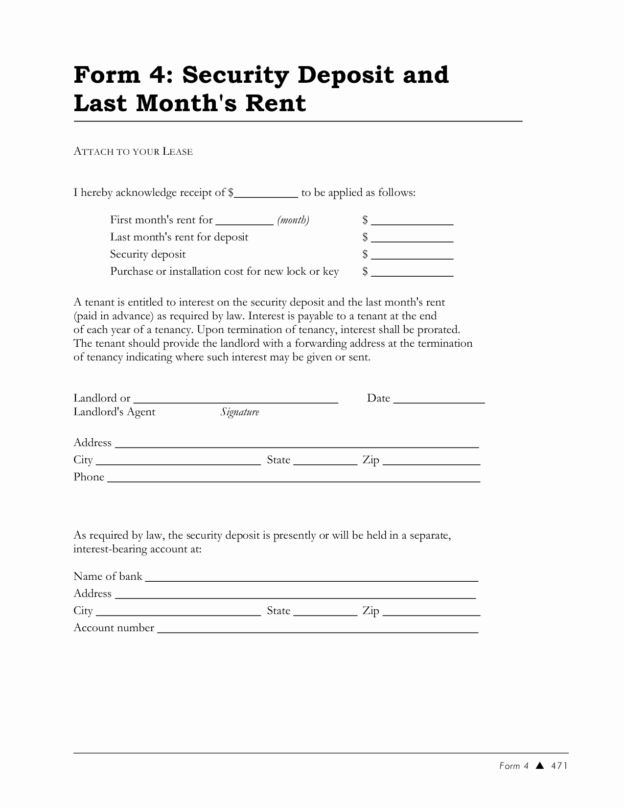 Best S Of Lease Security Deposit Receipt Template