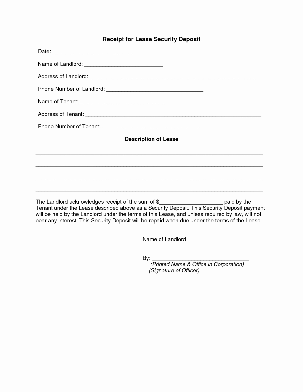 Best S Of Security Deposit Receipt Agreement