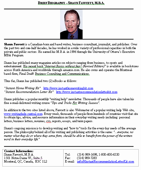 Biography Brief Sample format for A Typical Brief