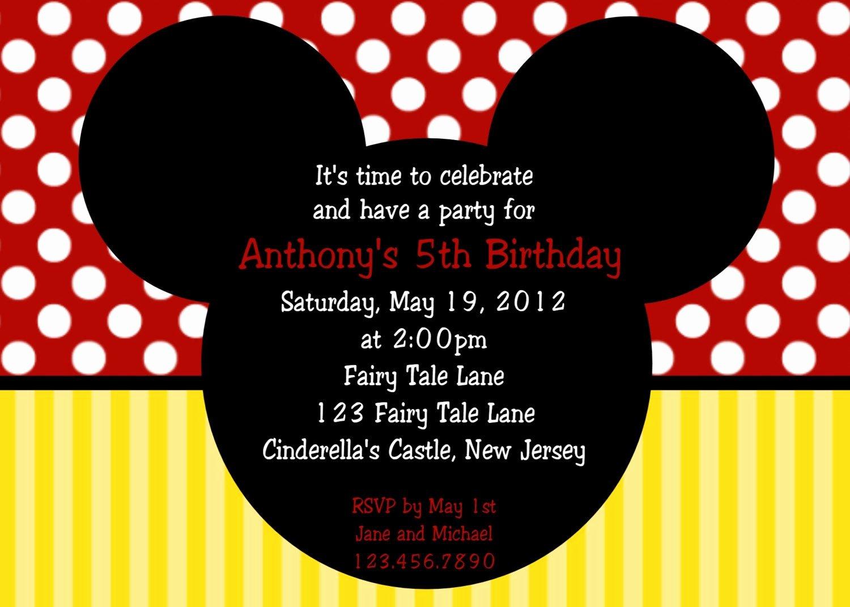 Birthday Invitation Mickey Mouse Birthday Invitations