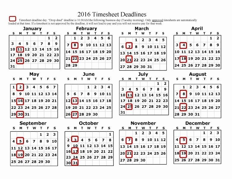 Biweekly Payroll Calendar 2016 Template Free Calendar