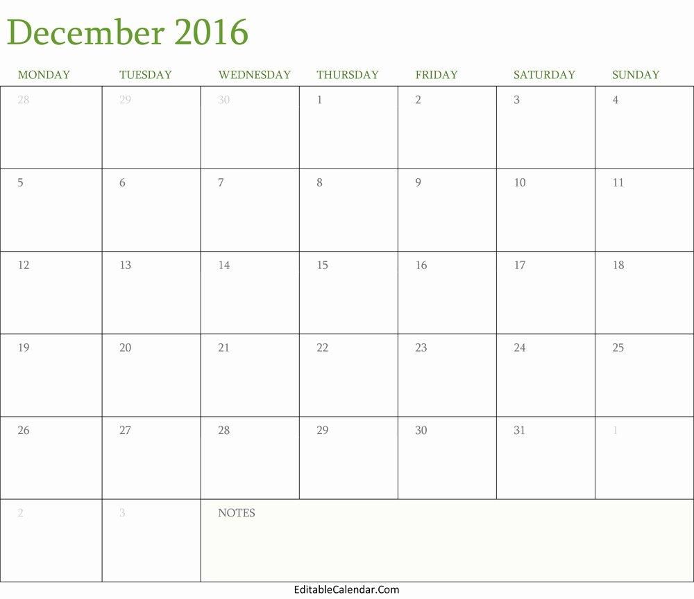 Blank December 2016 Calendar Template Editablecalendar