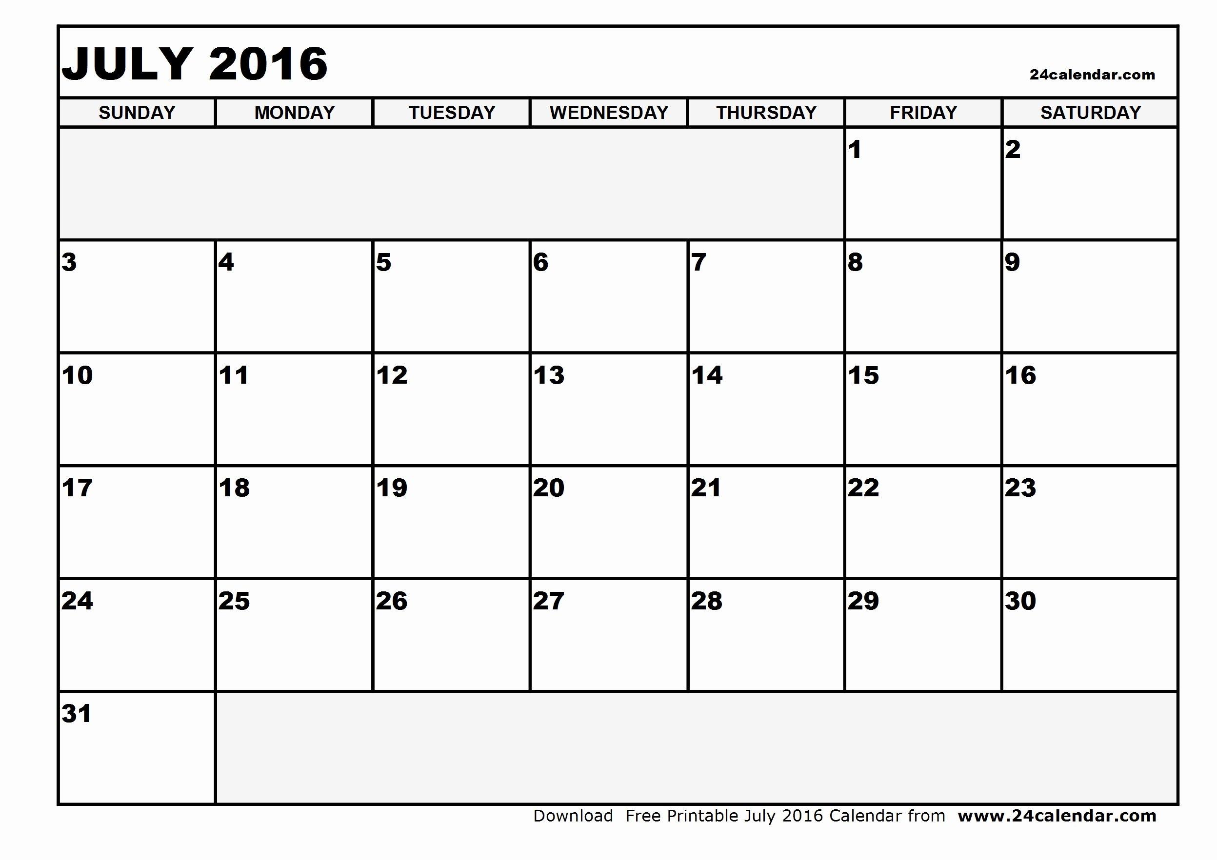 Blank July 2016 Calendar In Printable format