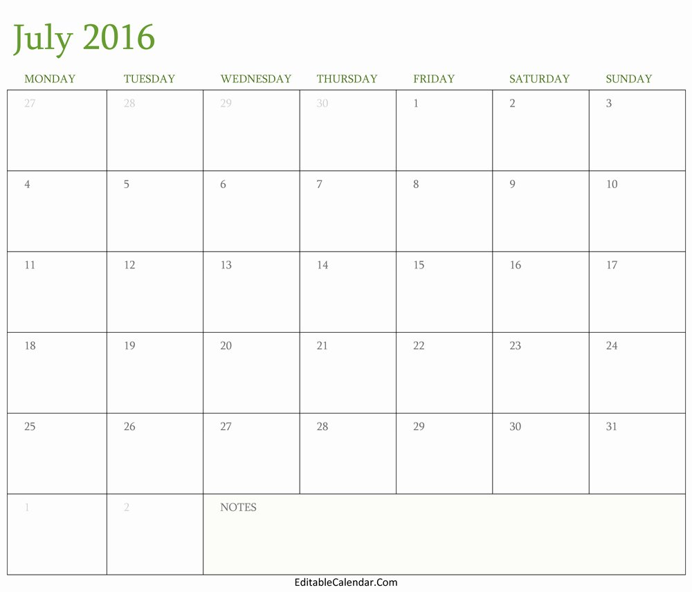 Blank July 2016 Calendar Template Editablecalendar