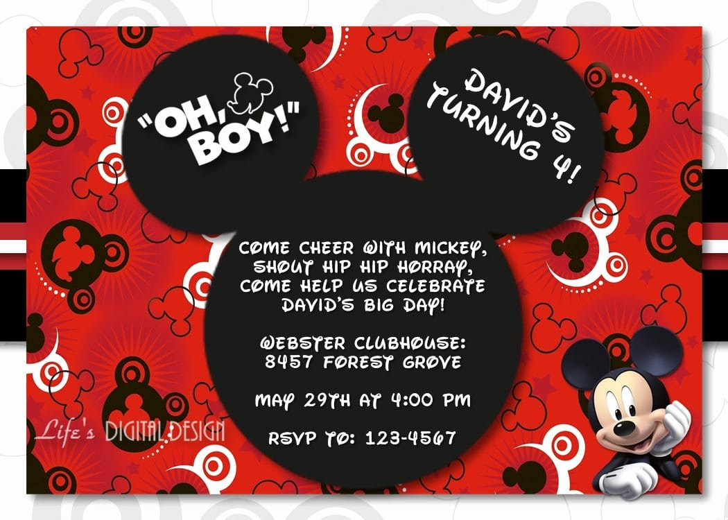 Blank Mickey Mouse Birthday Invitation
