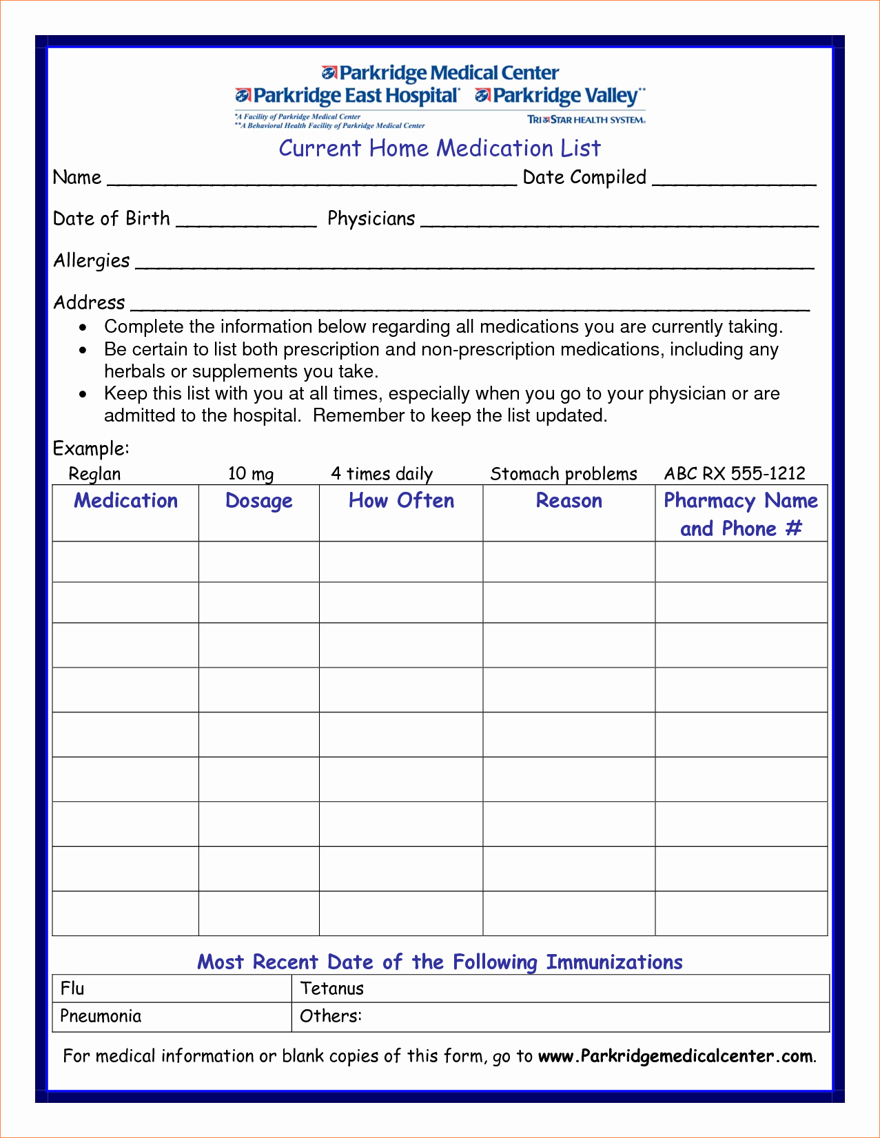 Blank Personal Medication List Template Daily to