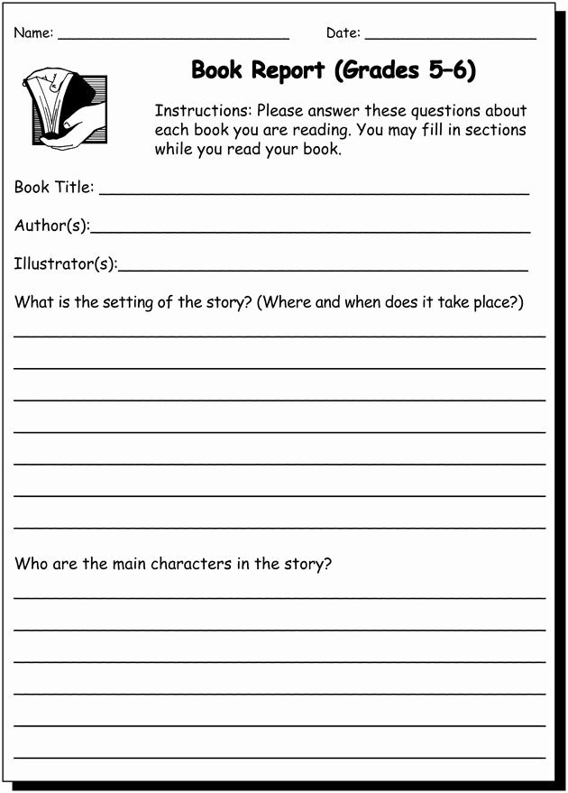 Book Report 5 & 6 Writing Practice Worksheet for 5th and