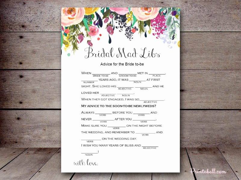 Bridal Mad Libs – Printabell • Create