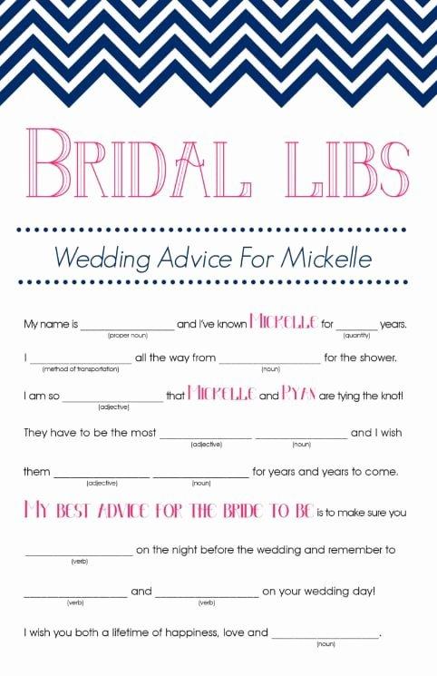 Bridal Mad Libs Printable Bridal Shower Games