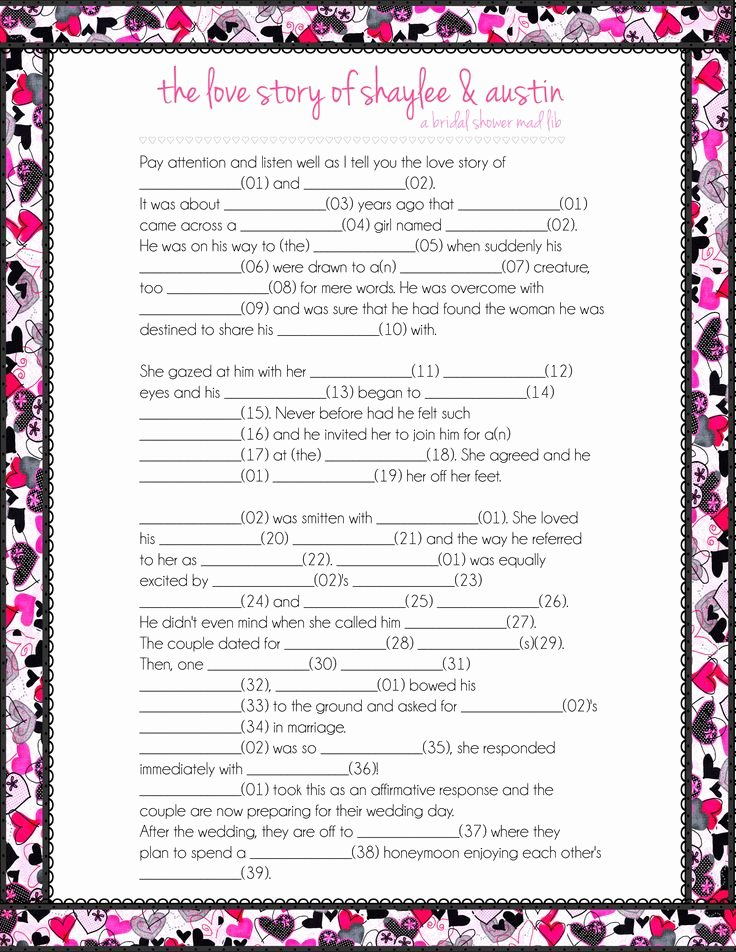 Bridal Shower Games Mad Libs