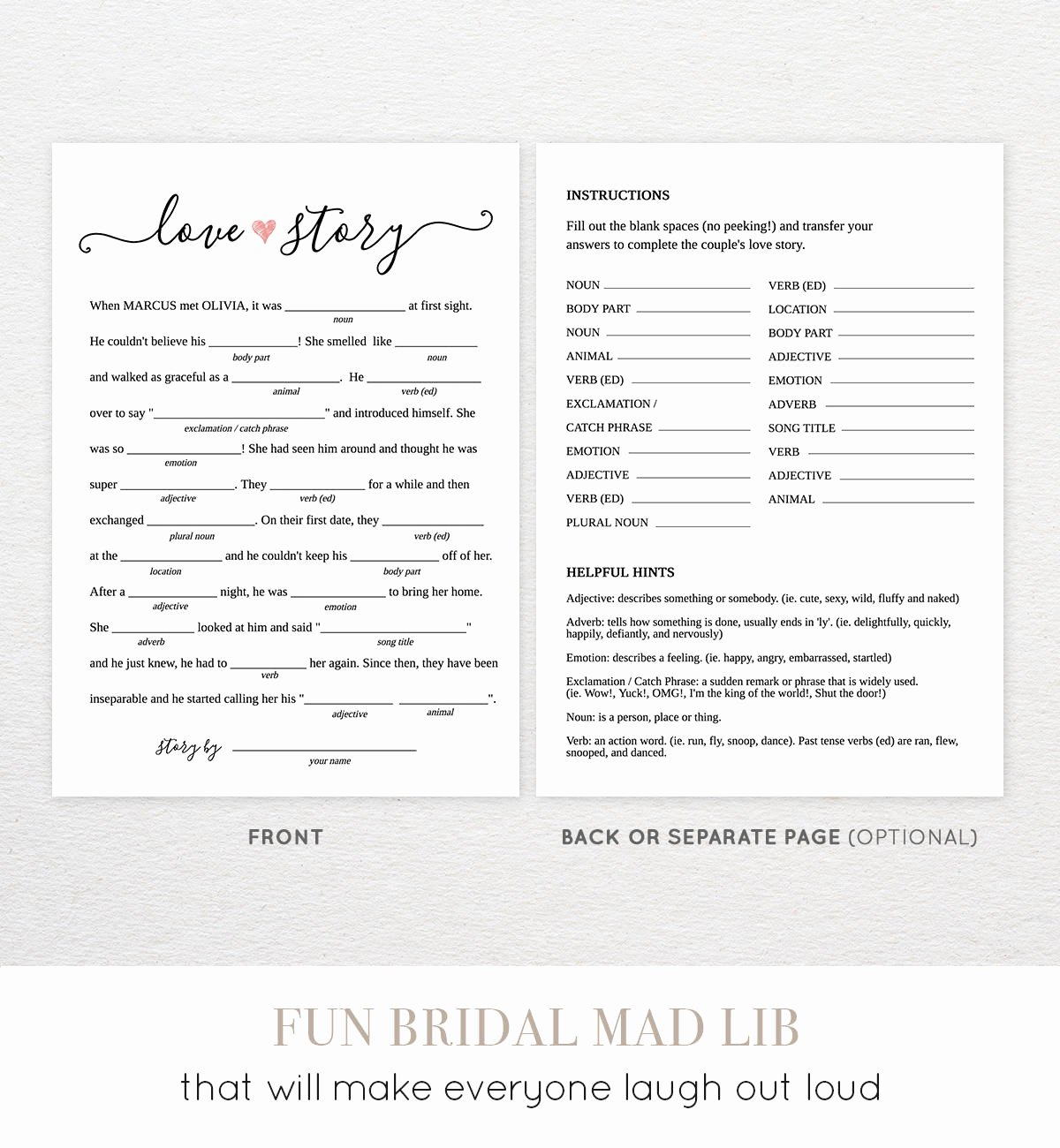 photo about Funny Wedding Mad Libs Printable called Totally free Printable Marriage ceremony Ridiculous Libs Latter Instance Template