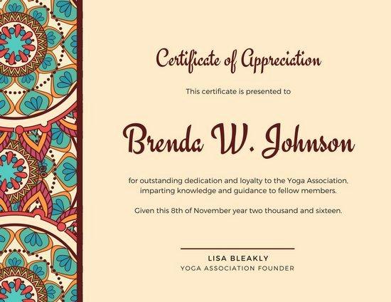 Brown Mandala Bordered Certificate Of Appreciation