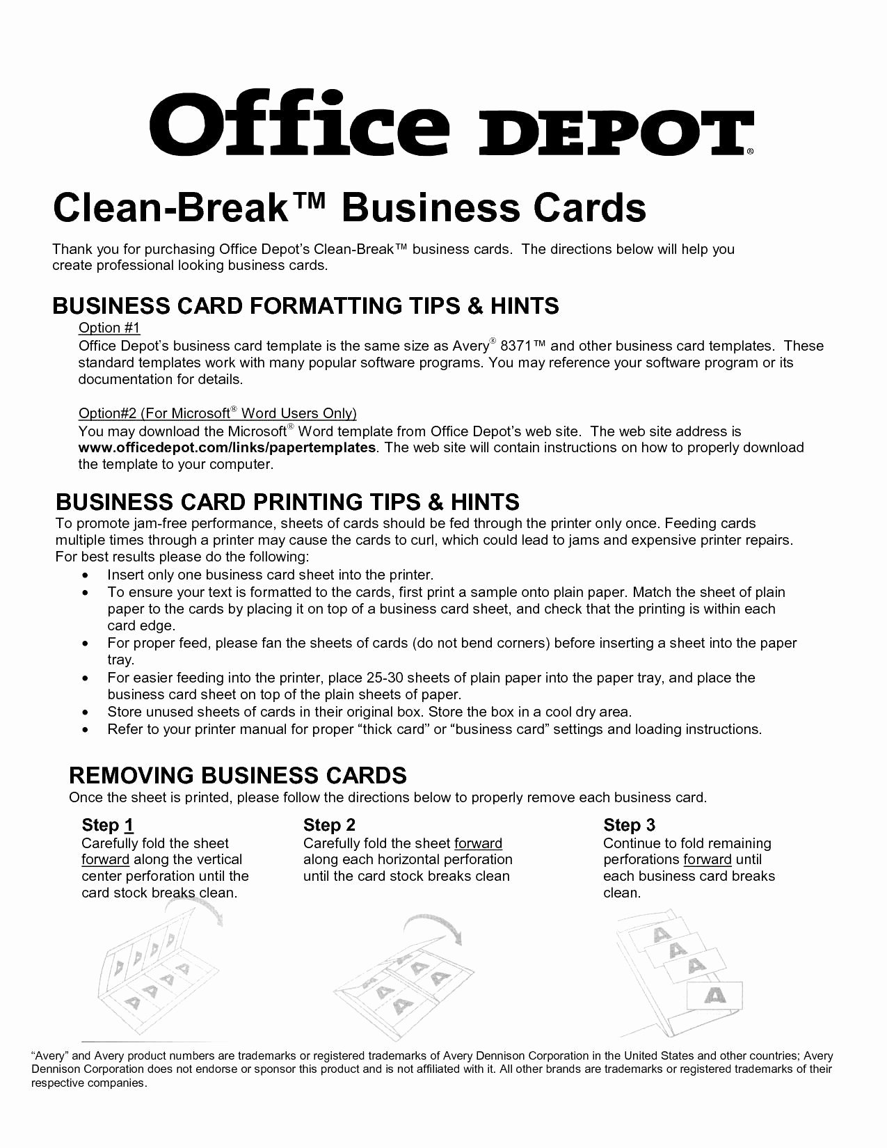 Business Card Size Template Word Unique Avery Templates