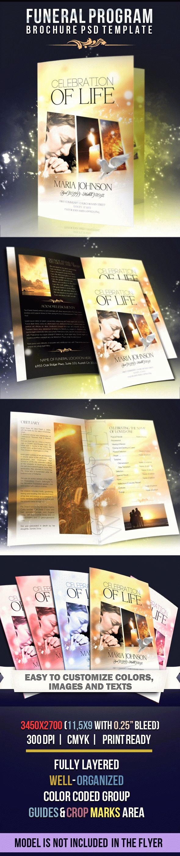 Celebration Of Life – Free Funeral Program Brochure In Psd