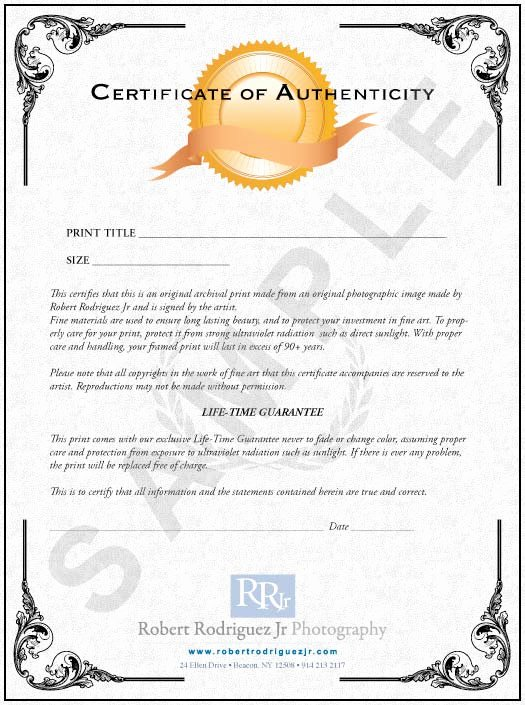 Certificate Authenticity Graphy