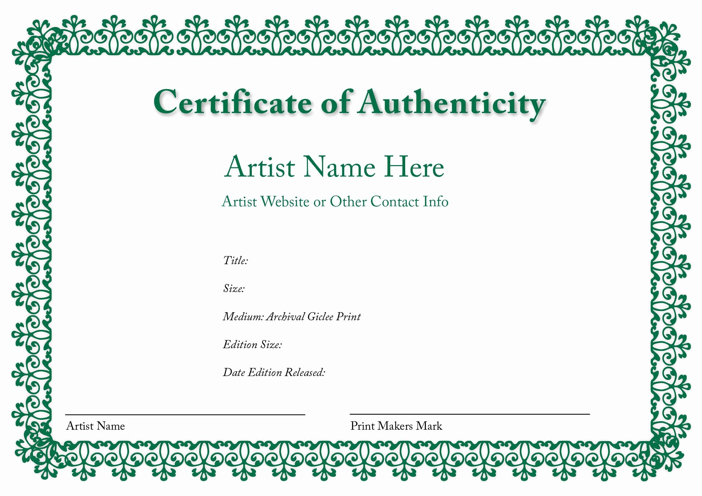 Certificate Of Authenticity Of An Art Print