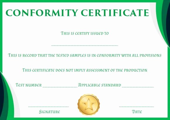 Certificate Of Conformance Template 10 High Quality