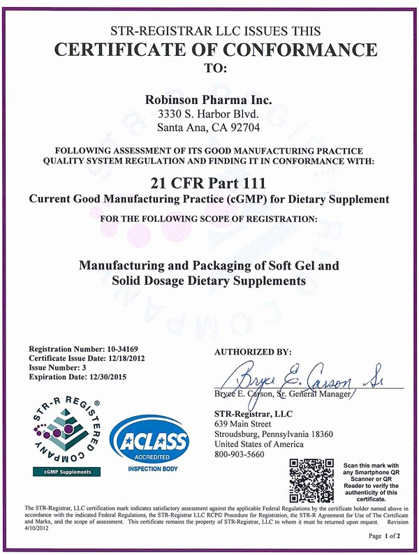 Certifications Robinson Pharma Inc