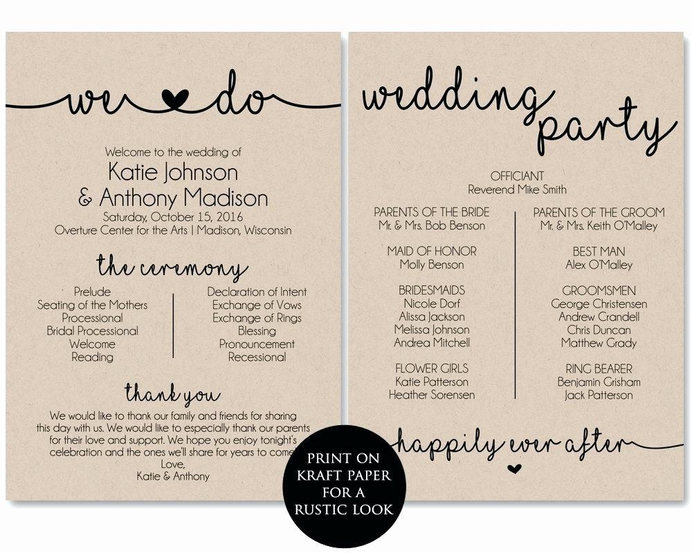 Christian Wedding order Service Template