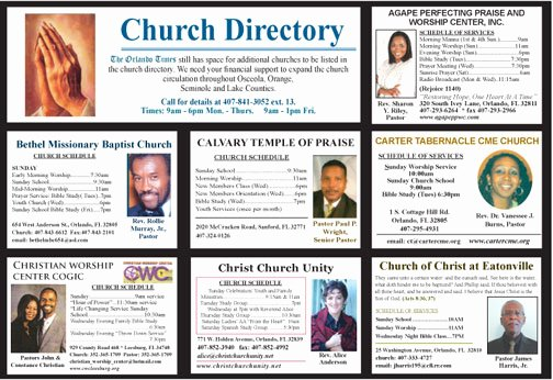 Church Business Directory Template Printable Church