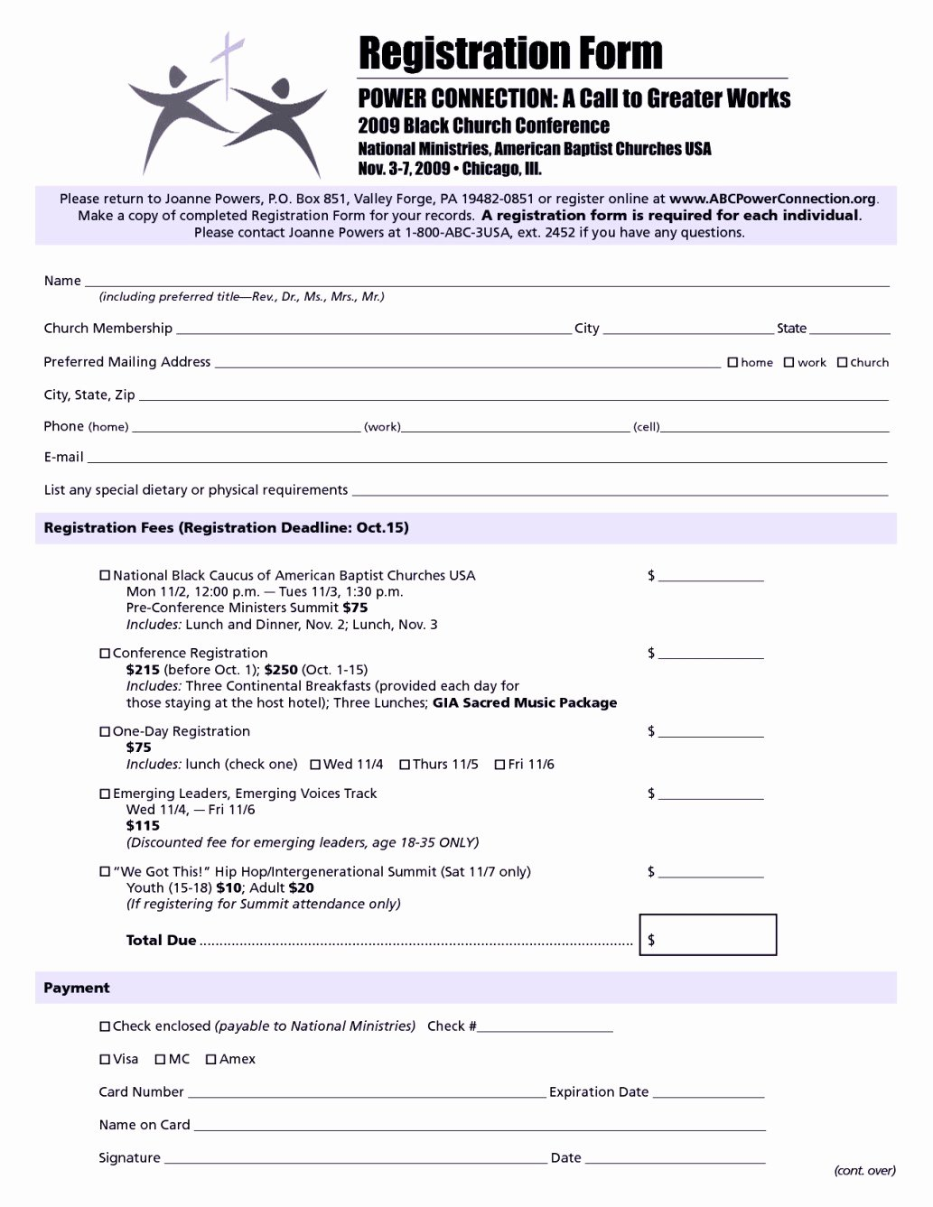 Church Conference Registration form Template Template