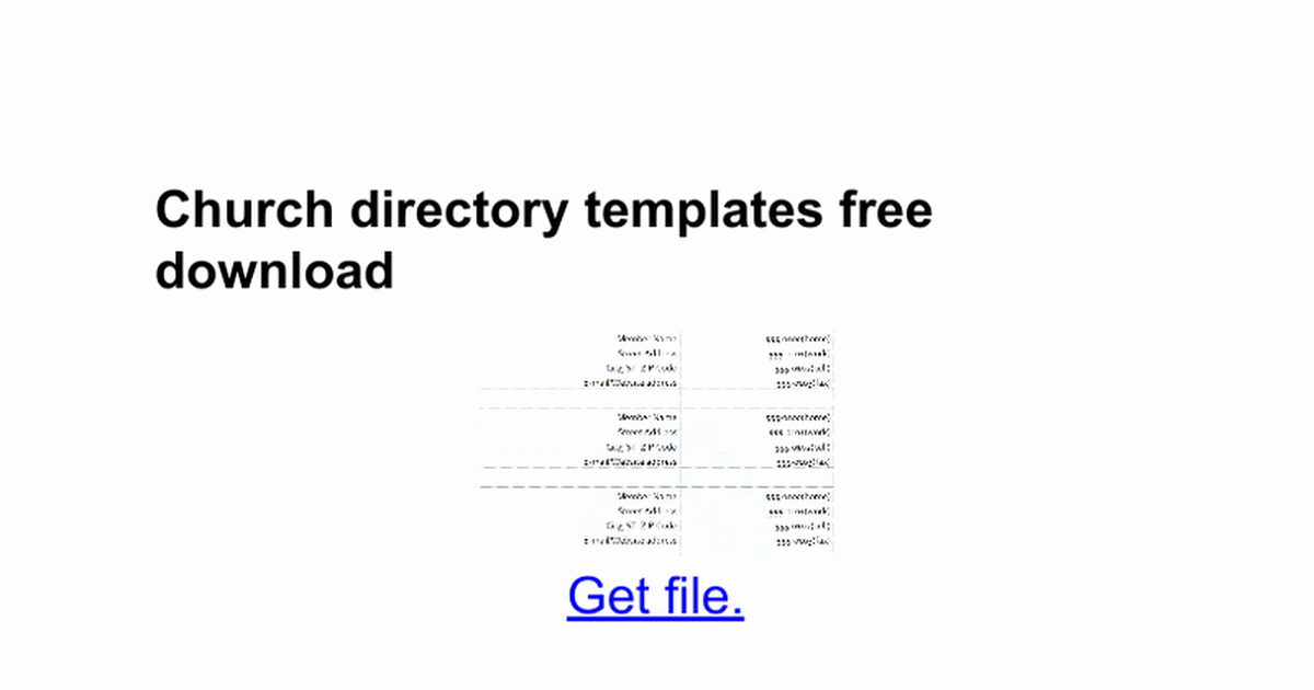 Church Directory Templates Free Google Docs